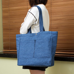 Denim Shoulder Bag with Pockets