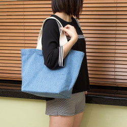 Denim Shopping Bag with Coloured Strap