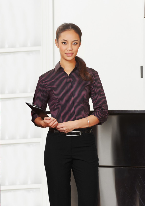 Ladies Reno Stripe 3/4 Sleeve Shirt | Promotional Products NZ | Biz Collection