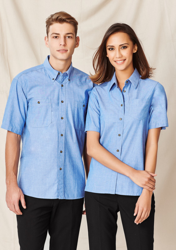 Ladies Wrinkle Free Chambray Short Sleeve Shirt | Withers & Co. | Promotional Products NZ