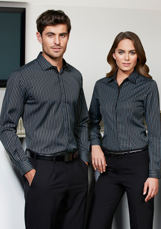 Mens Reno Stripe Long Sleeve Shirt | Promotional Products NZ | Biz Collection