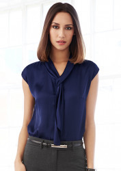 Ladies Shimmer Tie Neck Top