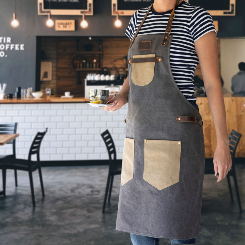 6oz Canvas Apron With Leather Straps | Corporate Gifts | Corporate Gifts NZ